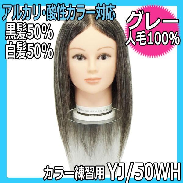 【カラーリング練習ウィッグ・人毛100%・黒髪50%白髪50%】 YJ/50WH グレーヘアーウィッグ 酸性・アルカリカラー対応