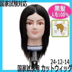 【国家試験対応カットウィッグ・人毛100%・黒髪】 24-12-14 レイヤースタイル カットマネキン