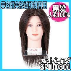 【美容師国家試験練習用・カットウィッグ・人毛100%・黒髪】 SPILO801 スピロ801