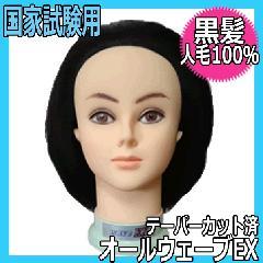 【国家試験オールウェーブ用・人毛100%・黒髪】 オールウェーブEX テーパーカット済み