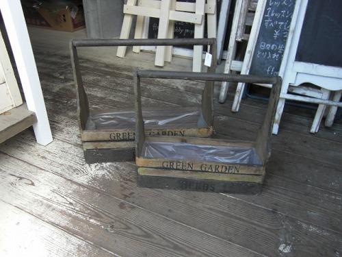 取っ手付き木箱文字付M