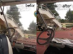 ゴルフカートフロントシールド再生施工