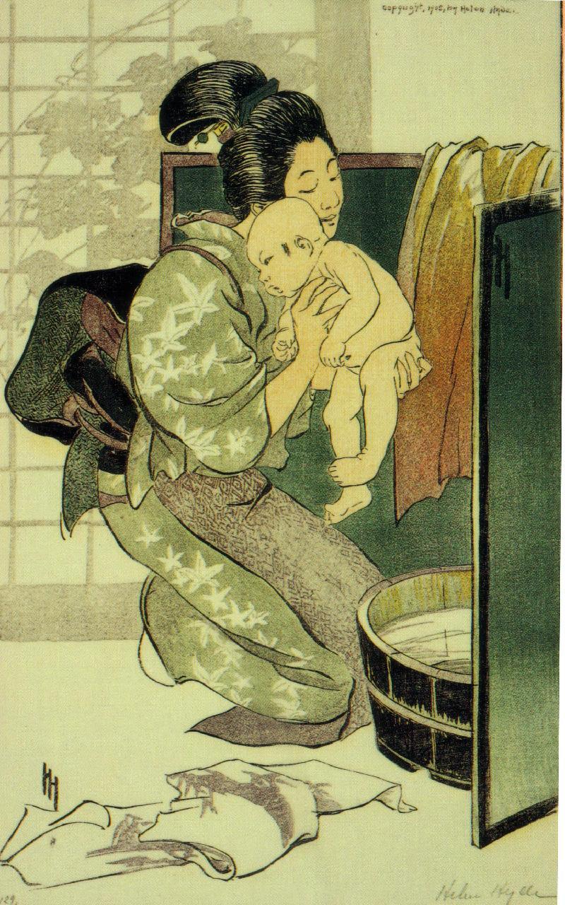 """ヘレン・ハイド(Helen HYDE) """"湯あみ""""1905年作 41×26cm"""