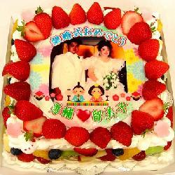 銀婚式&ひな祭り9号四角★苺多め 25年前のお写真でサプライズ!!