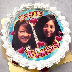 Wでご結婚のお祝いケーキ 6号