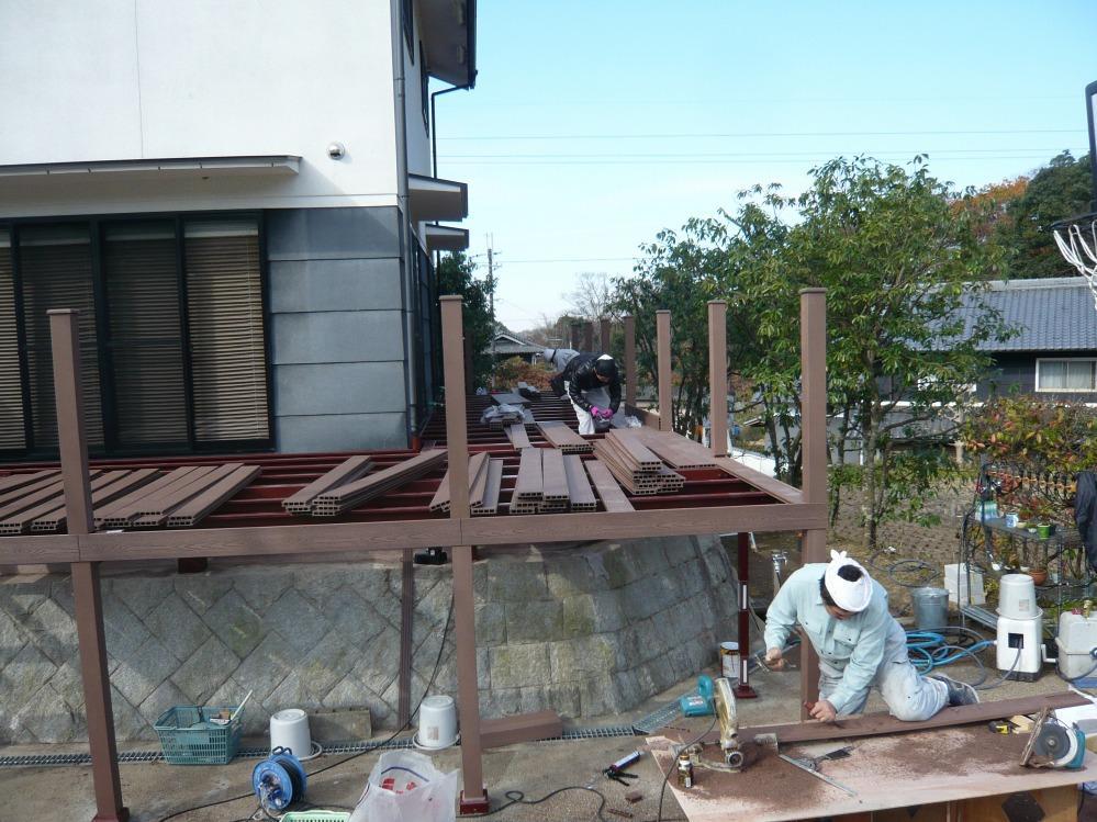 人工木材施工