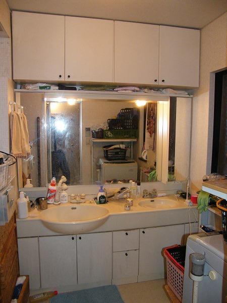 施工前の洗面台
