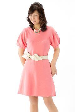 半袖ニットワンピース(ピンク)              RF01-OP01