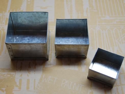 ブリキ製ミニ・ボックス 3サイズ・セット 正方形