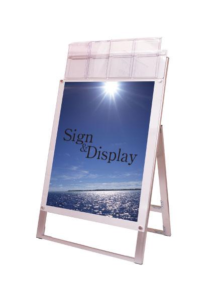 ポスター用スタンド看板パンフレットケース付 B2片面ホワイト(屋外用)