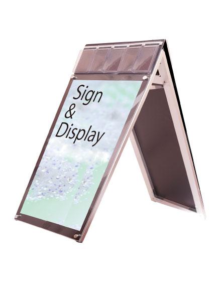 ポスター用スタンド看板パンフレットケース付 A1ロウ両面ブラック(屋内用)