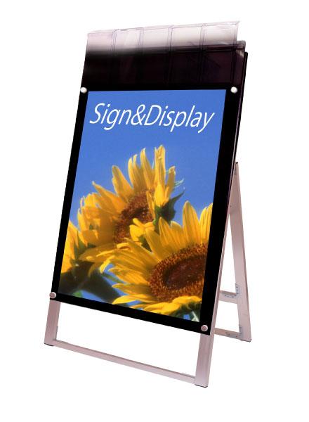 ポスター用スタンド看板パンフレットケース付 A1片面ブラック(屋外用)