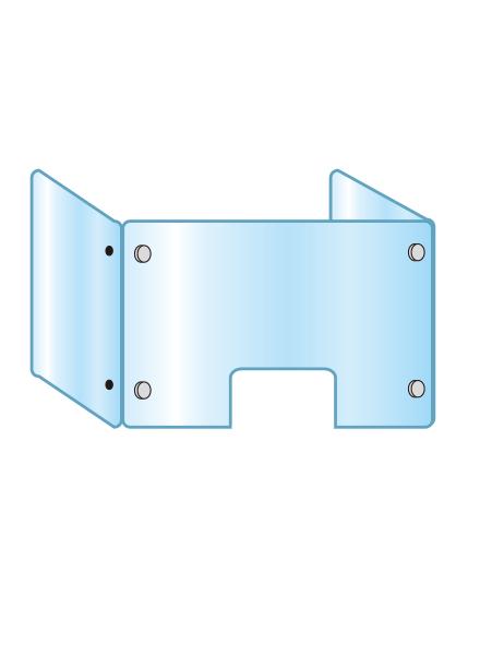 アクリルパーテーション 三面タイプ窓付 APT3F-M600X900X450