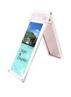 ポスター用スタンド看板パンフレットケース付 A3縦縦ロウ両面ホワイト(屋内用)