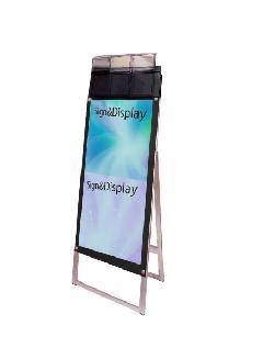 ポスター用スタンド看板パンフレットケース付 A3縦縦片面ブラック(屋外用)