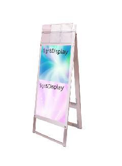 ポスター用スタンド看板パンフレットケース付 A3縦縦両面ホワイト(屋外用)
