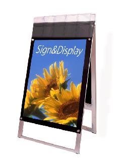 ポスター用スタンド看板パンフレットケース付 A1両面ブラック(屋外用)