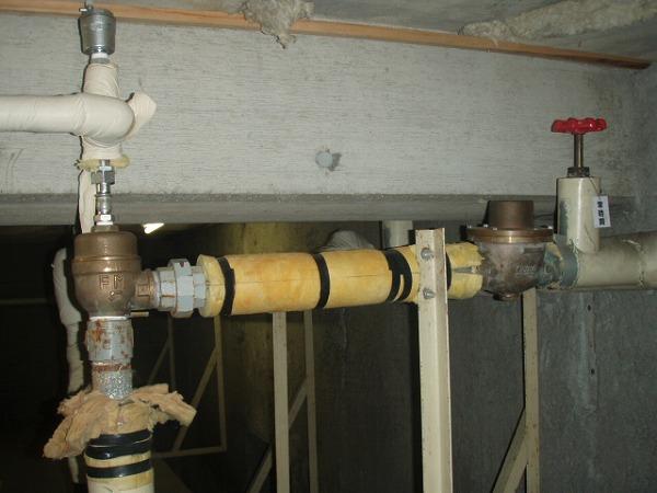 受水槽給水管 交換工事