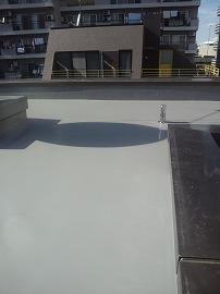 ビル屋上ウレタン防水 トップコート塗布・施工完了