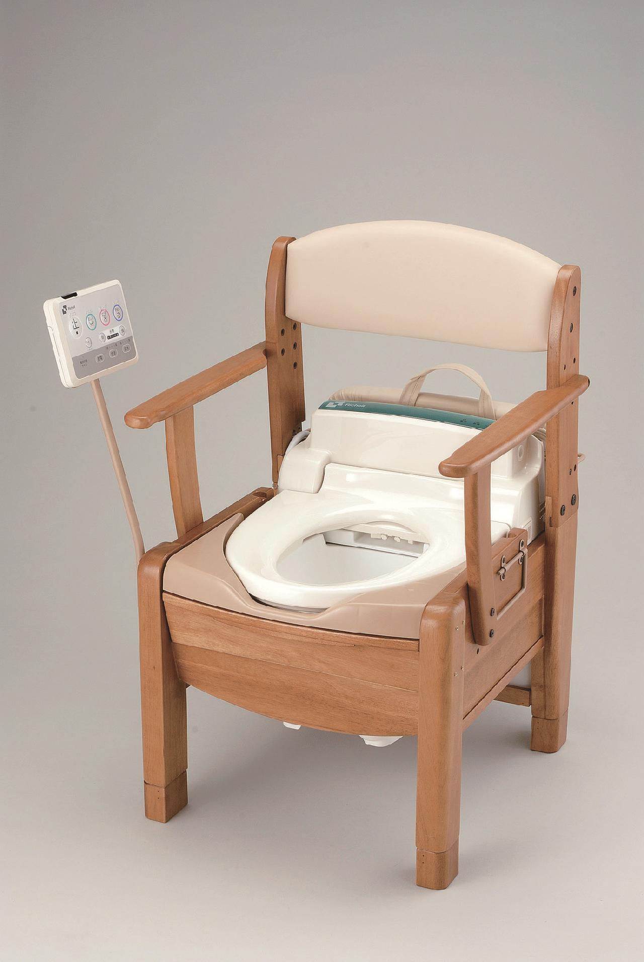 木製ポータブルトイレ きらくS型 リモコンスタンド付