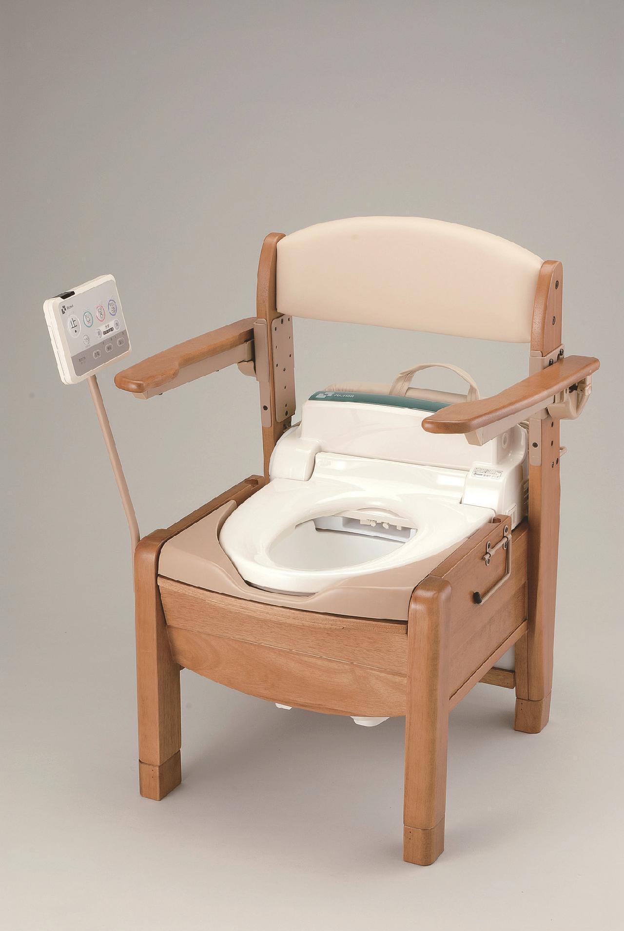 木製ポータブルトイレ きらくSJ型 リモコンスタンド付