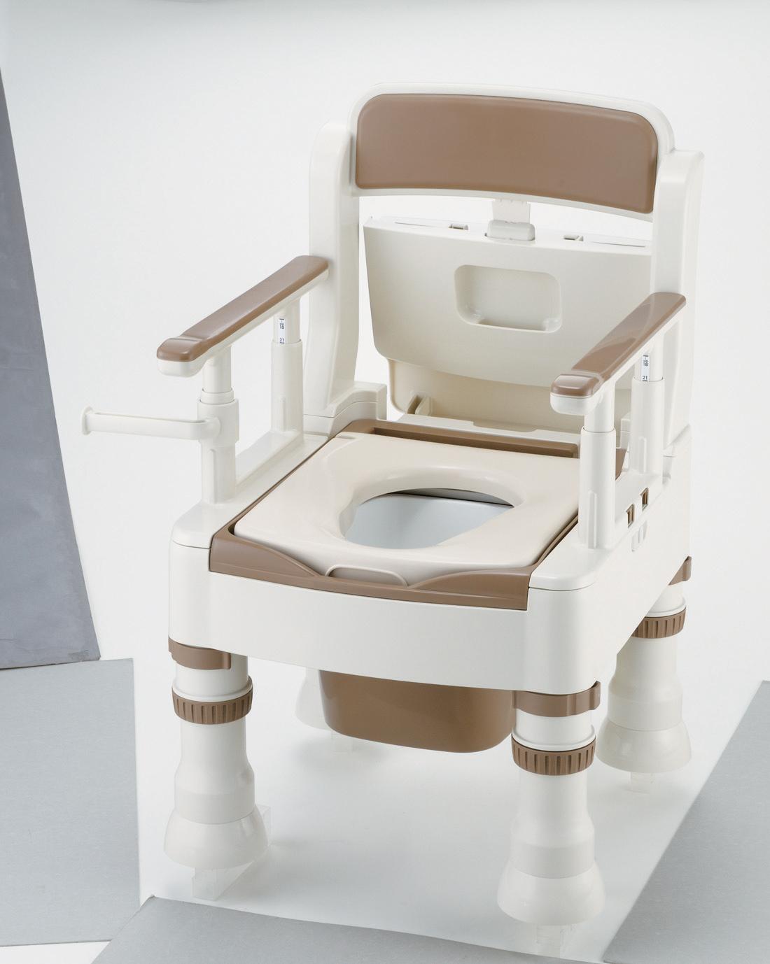 ポータブルトイレ きらく Mシリーズ ミニデカ(脱臭機付暖房便座)