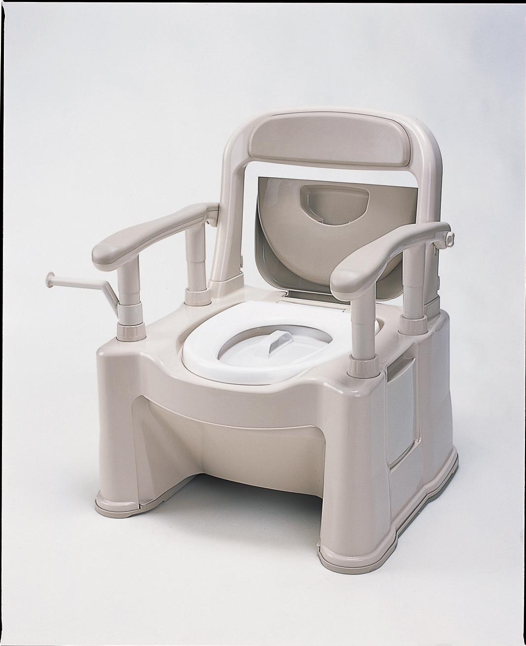 ポータブルトイレ<座楽> 背もたれ型SP (ソフト便座・便フタタイプ)
