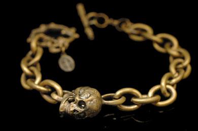 "Animal Worship Silver AWSB-07 Madeleine Skull Bracelet ""A"""