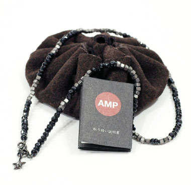 amp japan 10ad-237s black spinel beads necklace