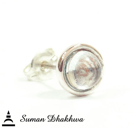 Suman Dhakhwa SD-E06S Crystal On MOKUME Stud