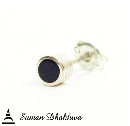 Suman Dhakhwa SD-E11S Onyx Circle Stud