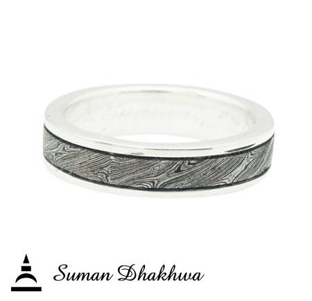 Suman Dhakhwa VR-040 Brass MOKUME Silver Borders Ring