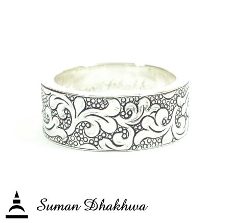 "Suman Dhakhwa SD-R119 "" Valhalla Collection "" Wide Flat Leaf Carving Ring"