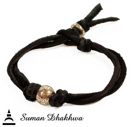 Suman Dhakhwa SD-B70 MOKUME Ball Leather Bracelet