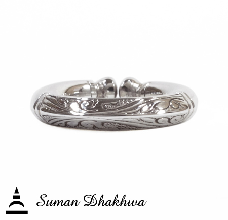 "Suman Dhakhwa SD-R124 "" Valhalla Collection "" Square Leaf Carving Ring"