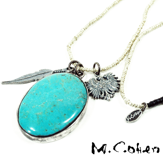 M.Cohen N657 Eagle Feather & Turquoise Necklace