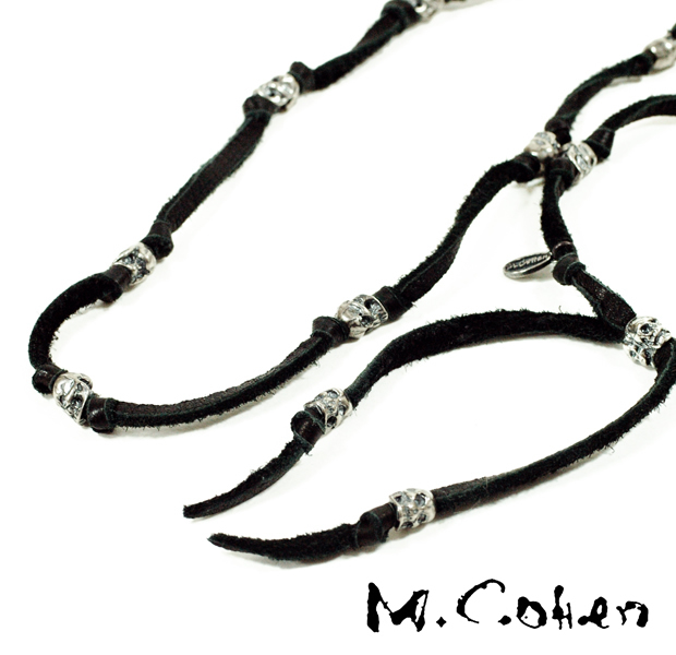 M.Cohen N577S/Leather & Skull Necklace