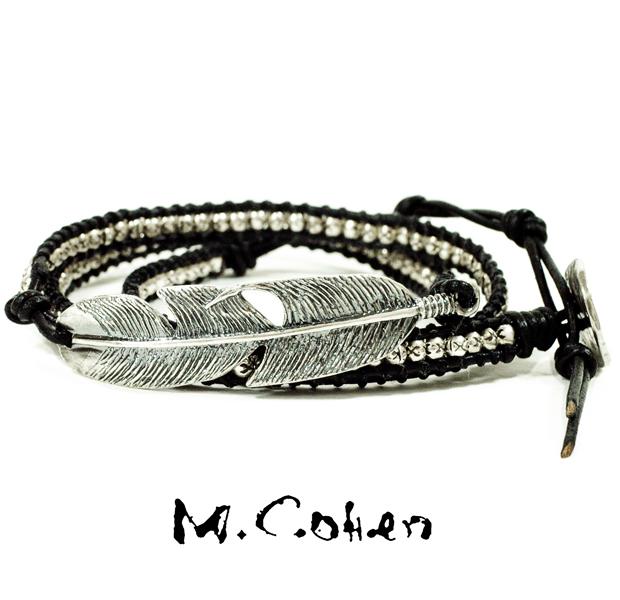 M.Cohen B515/Black Silver Feather & Leather Bracelet