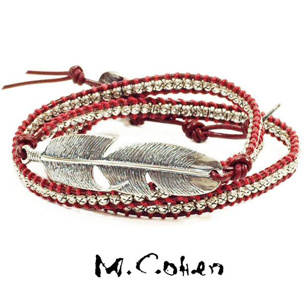 M.Cohen B515/Red Silver Feather & Leather Bracelet