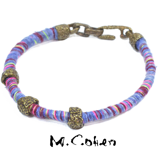M.Cohen B101031 Brass Beads Woven Thread Bracelet