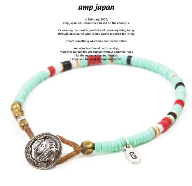 amp japan 14ahk-425LBL light blue african disk beads bracelet