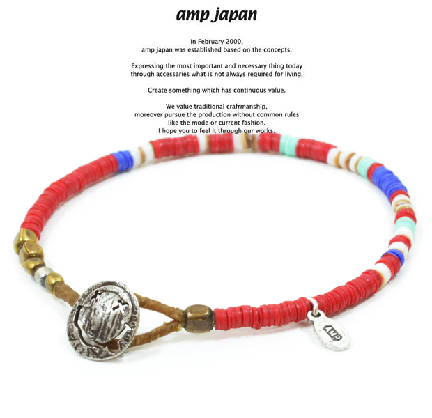amp japan 14ahk-425RD red african disk beads bracelet