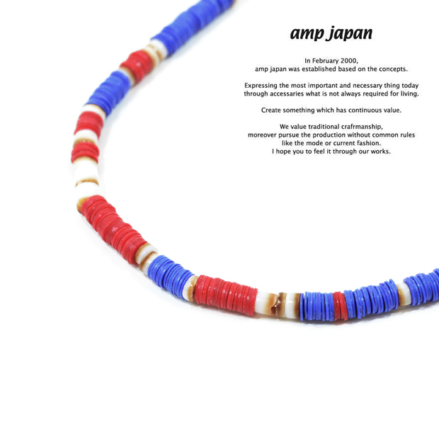 amp japan 14ahk-115BL blue african disk beads 3way choker