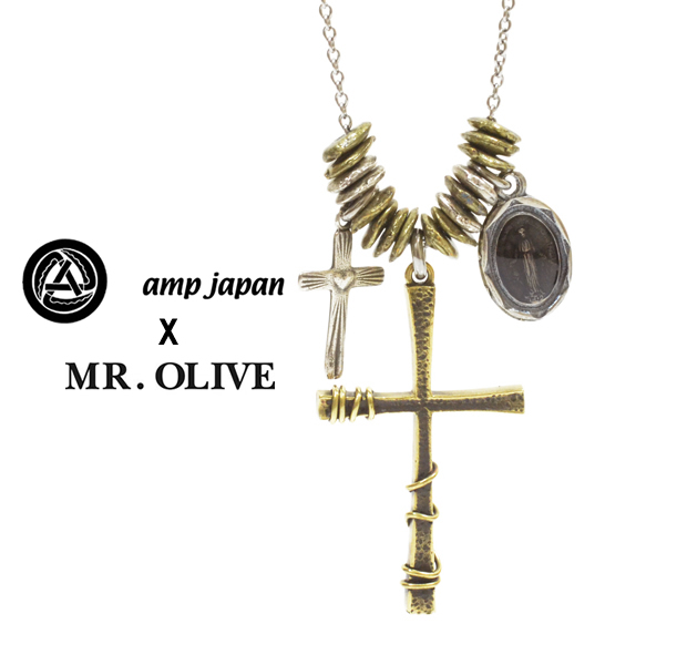 amp japan x Mr.Olive 14moh-101 Cross Necklace Brass