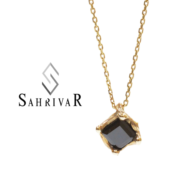 SAHRIVAR sn58s14s/BLACK Square Stone Necklace