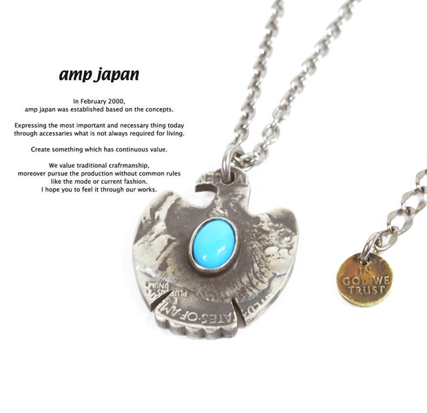 amp japan 13aa-108 thunderbird native american coin necklace -turquoise-