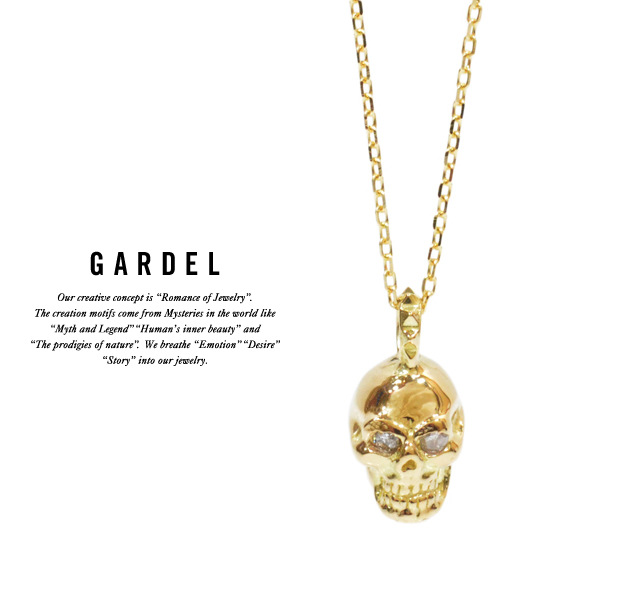 GARDEL gdp072 TINY DIAMOND NECKLACE SKULL