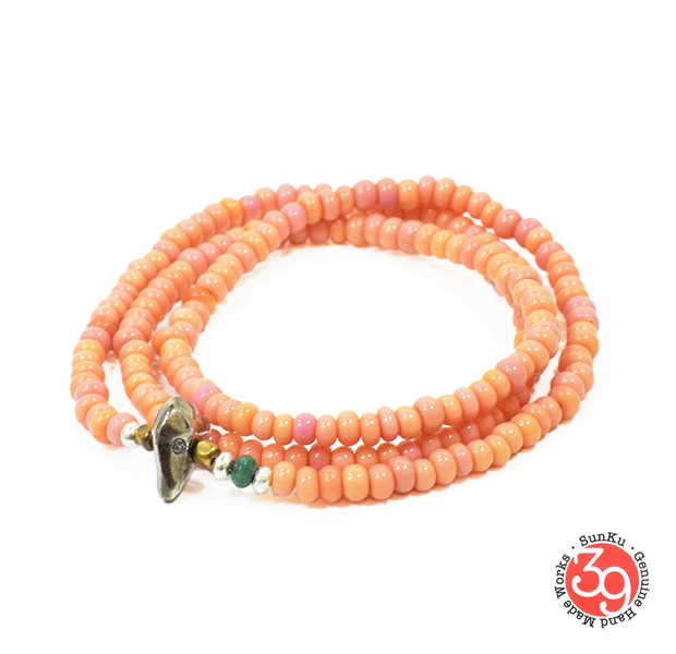 Sunku LTD-002 Antique Beads Necklace & Bracelet Baby Pink