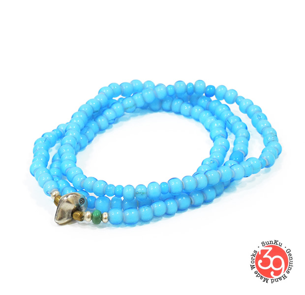 Sunku LTD-004 White Heart Beads Necklace & Bracelet Sky Blue