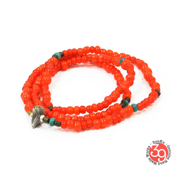 Sunku LTD-008 Antique Beads Necklace & Bracelet Orange